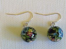 Blue Rose Decal Bead Earrings